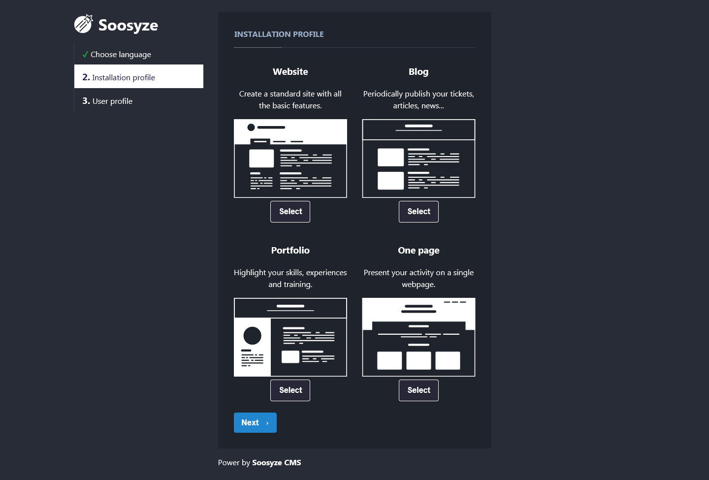 Screenshot of Soosyze CMS installation page